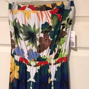 [F21] NWT Tropical Strapless Maxi Dress
